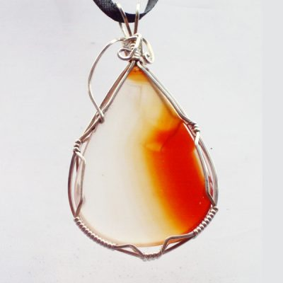 Chalcedony Carnelian Mineral Pendant front view