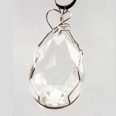 Faceted Glass Crystal Wire Wrap Pendant front view