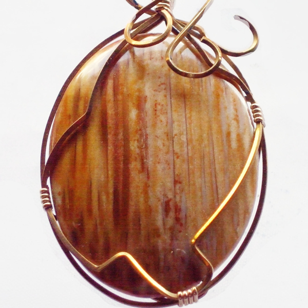 Ban Wire Wrap Cabochon Pendant Necklace pin up view