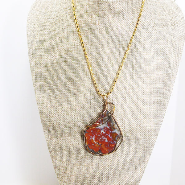 Calineca Wire Wrap Cabochon Pendant Necklace relevant front view