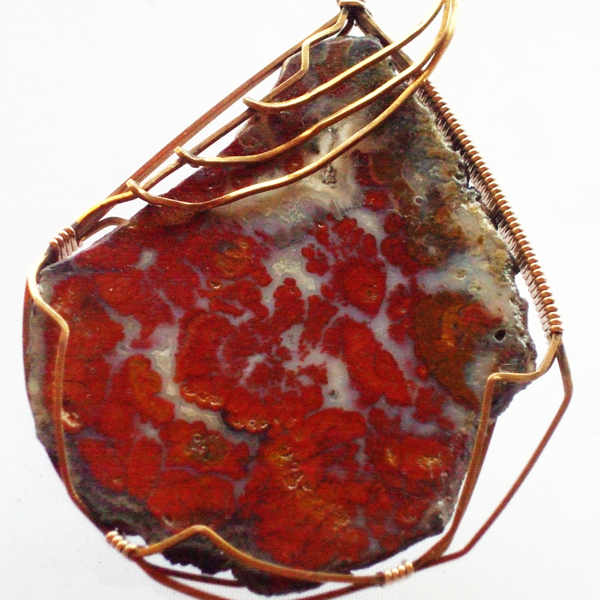 Calineca Wire Wrap Cabochon Pendant Necklace pin up view