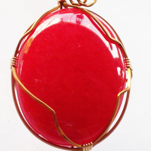 Fantasia Wire Wrap Cabochon Pendant Necklace pin up view