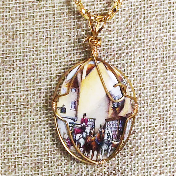 Gamila Wire Wrap Cabochon Pendant Necklace blow up view