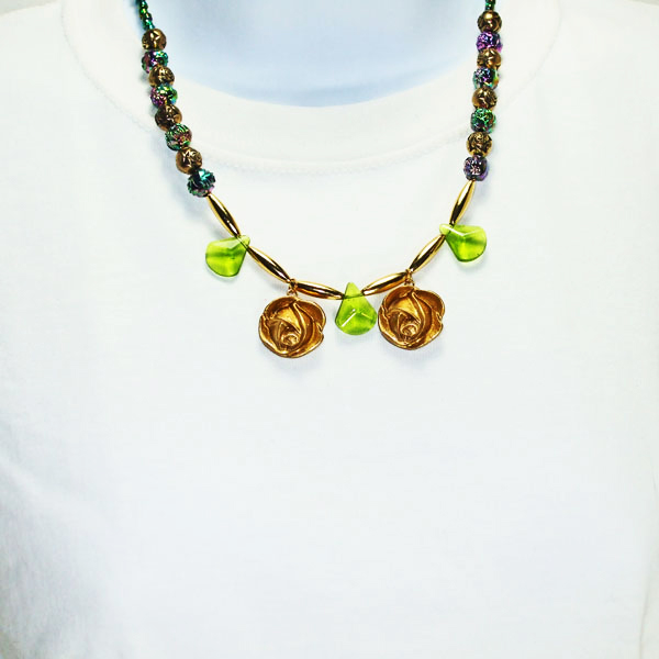 Acquilina Beaded Costume Necklace relevant front view
