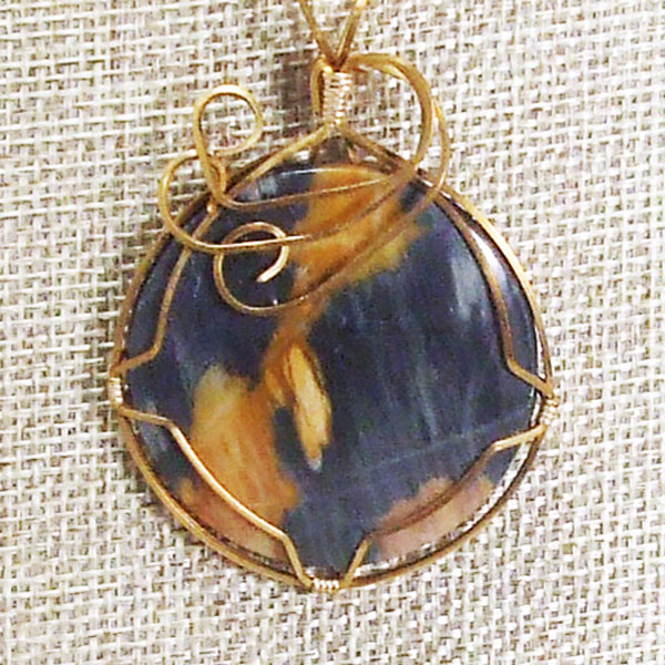 Jackelyn Wire Wrap Cabochon Pendant Necklace blow up view