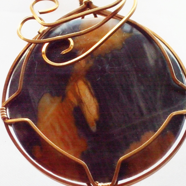 Jackelyn Wire Wrap Cabochon Pendant Necklace pin up view