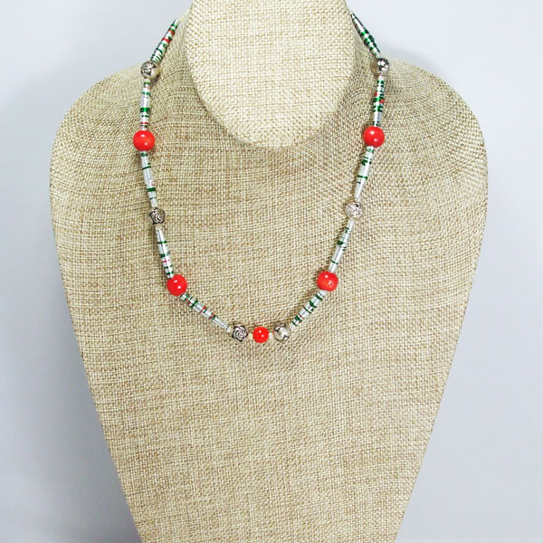 Yajaira Paper Beaded Necklace relevant view front
