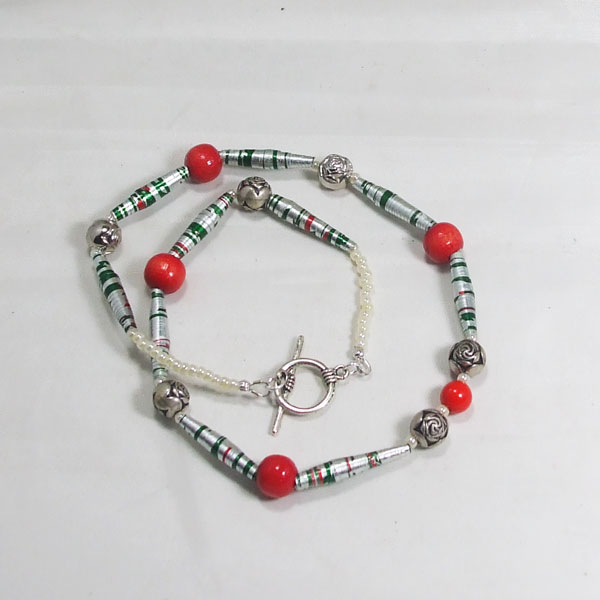 Yajaira Paper Beaded Necklace flat view