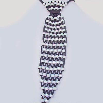 Beaded Leather Necktie Necklace front view