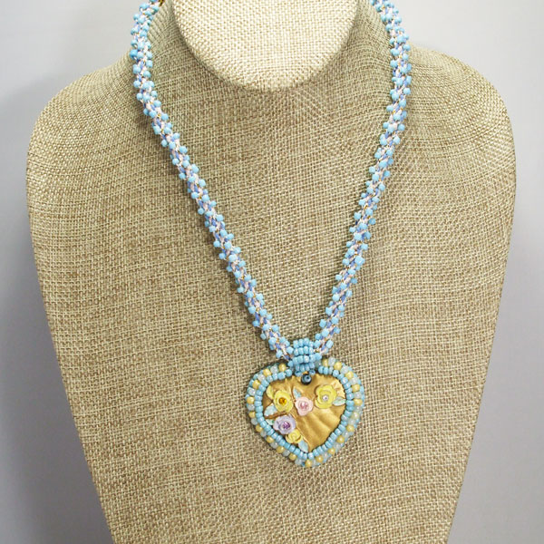 Gaby Bead Embroidery Pendant Necklace relevant front view