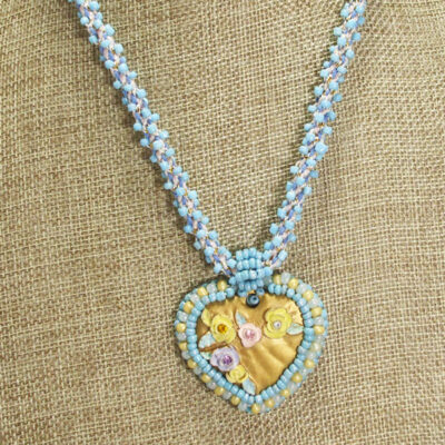 Gaby Bead Embroidery Pendant Necklace relevant close up view
