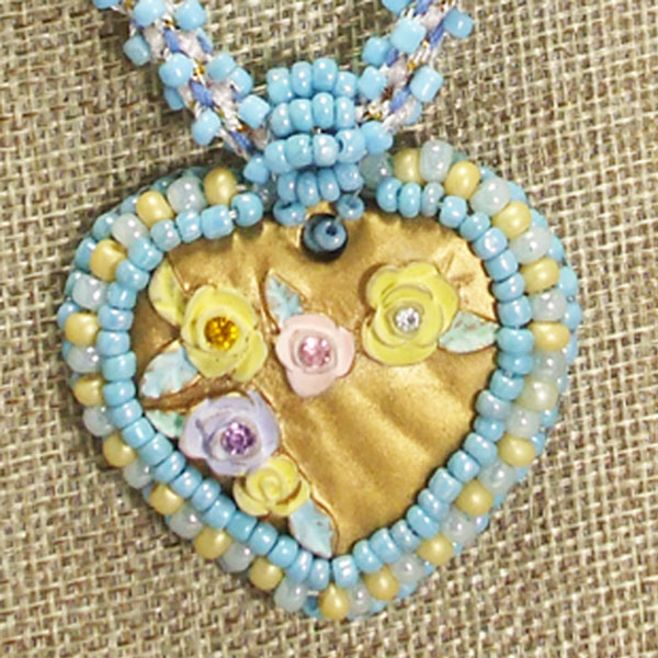 Gaby Bead Embroidery Pendant Necklace relevant blow up view