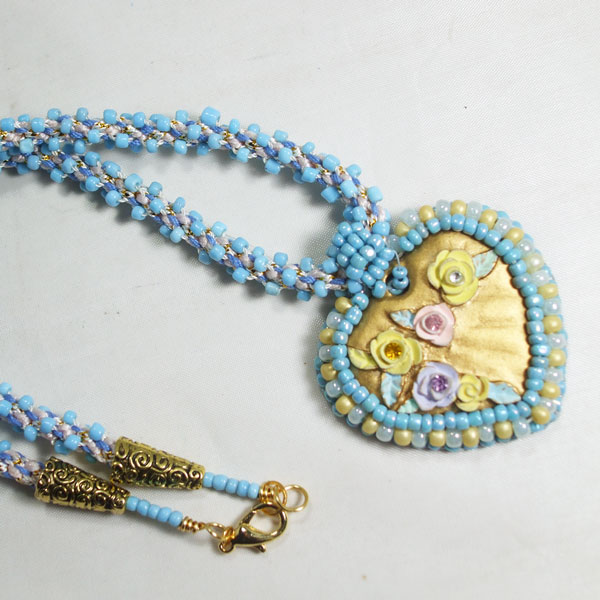 Gaby Bead Embroidery Pendant Necklace flat view