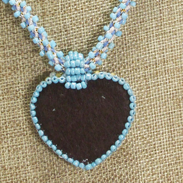 Gaby Bead Embroidery Pendant Necklace close up back view