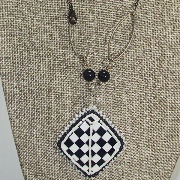 Dae Bead Embroidery Pendant Necklace close view