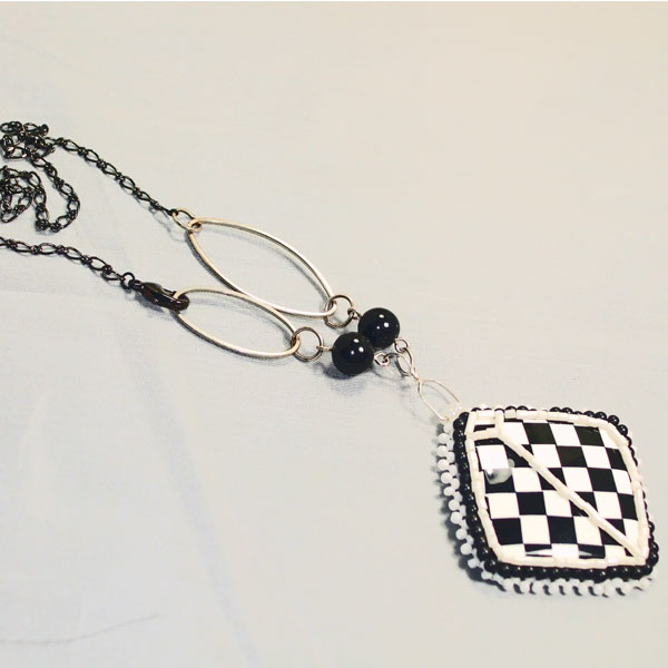 Dae Bead Embroidery Pendant Necklace flat view