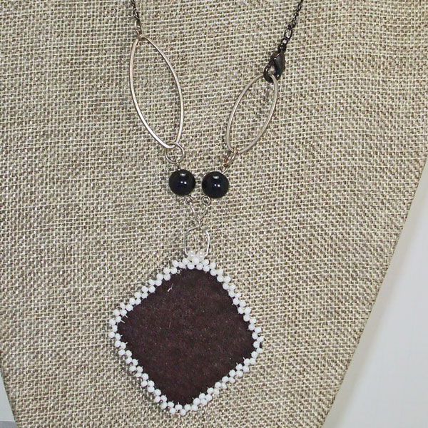 Dae Bead Embroidery Pendant Necklace back view