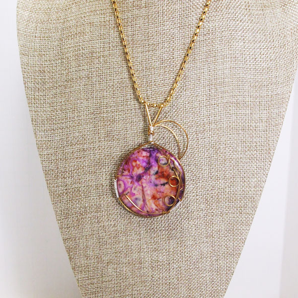 Naida Wire Wrap Cabochon Pendant Necklace relevant front view