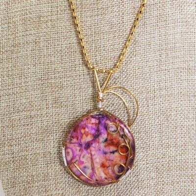 Naida Wire Wrap Cabochon Pendant Necklace close up view