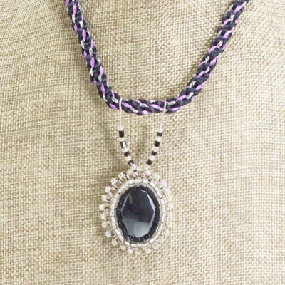 Odina Bead Embroidery Cabochon Pendant Necklace close up view