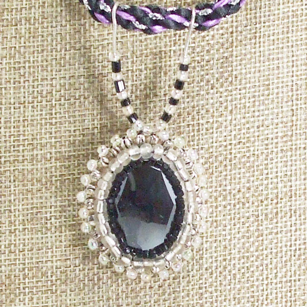 Odina Bead Embroidery Cabochon Pendant Necklace blow up view