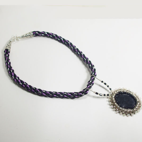 Odina Bead Embroidery Cabochon Pendant Necklace flat view