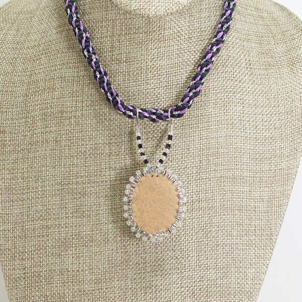 Odina Bead Embroidery Cabochon Pendant Necklace back view