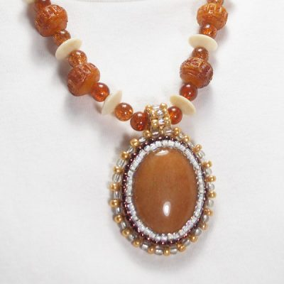 Nailan Bead Embroidery Pendant Necklace close up view