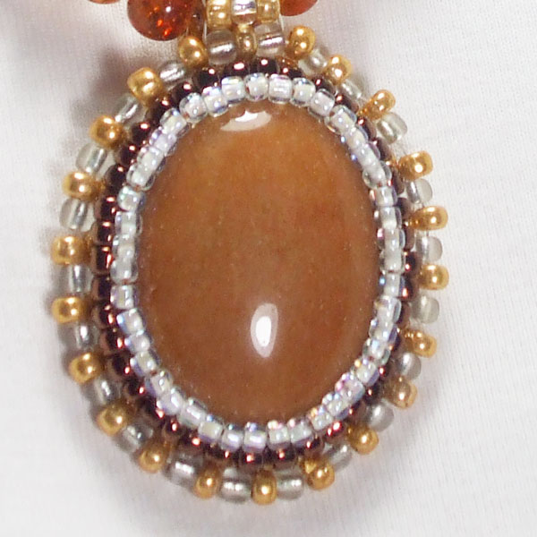 Nailan Bead Embroidery Pendant Necklace blow up view