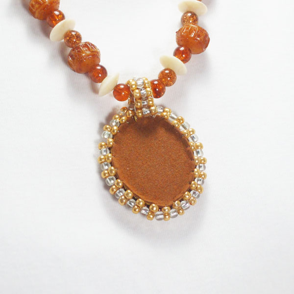 Nailan Bead Embroidery Pendant Necklace back view