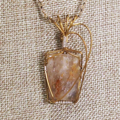 Palba Wire Wrap Cabochon Pendant Necklace blow up view
