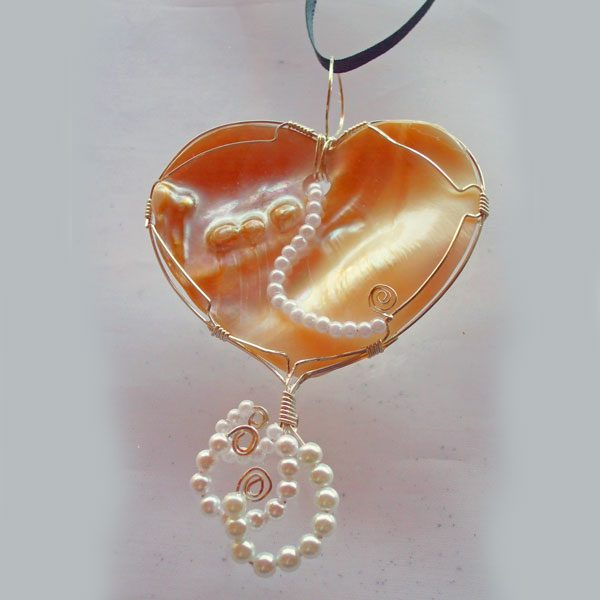 Paula Shell Cabochon Wire Wrapped Pendant front view