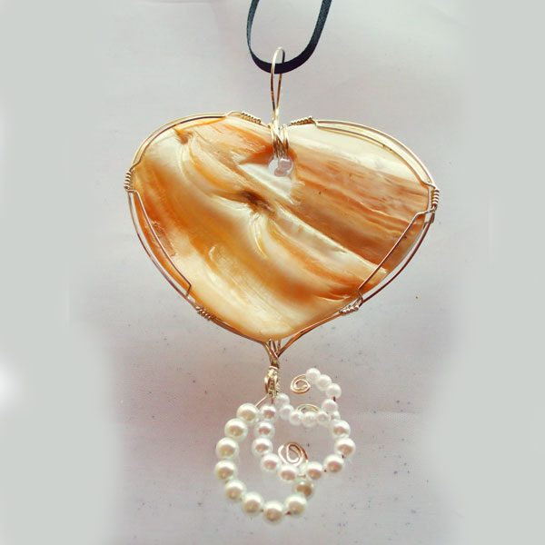 Paula Shell Cabochon Wire Wrapped Pendant back view