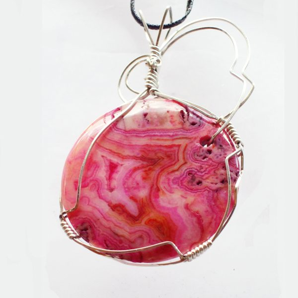 Dyed Fortification Agate Cabochon Pendant back view
