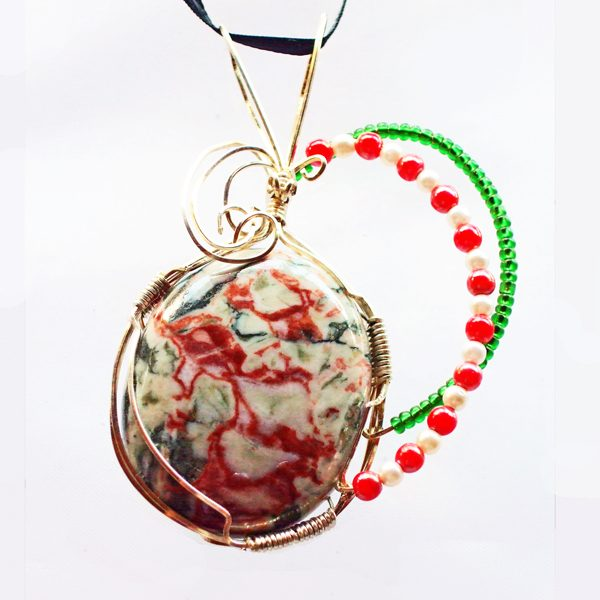 Cinnabar-N-Opaline Cabochon Pendant front view