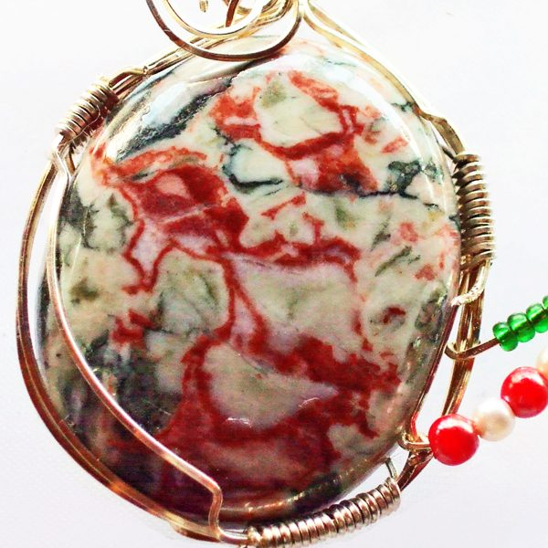 Cinnabar-N-Opaline Cabochon Pendant close up view