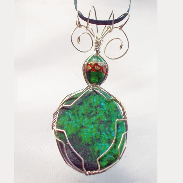 Chrysocolla Turquoise Cabochon Pendant back view