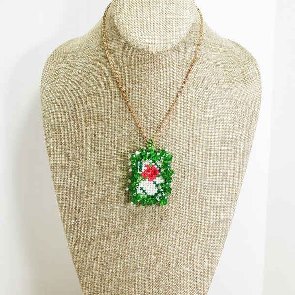 Raechelle Bead Embroidery X-Stitch Pendant Necklace relevant front view