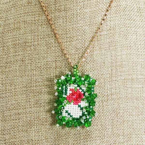 Raechelle Bead Embroidery X-Stitch Pendant Necklace close up view