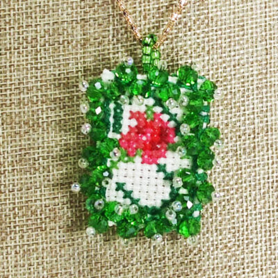 Raechelle Bead Embroidery X-Stitch Pendant Necklace blow up view