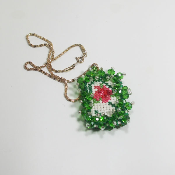 Raechelle Bead Embroidery X-Stitch Pendant Necklace flat view