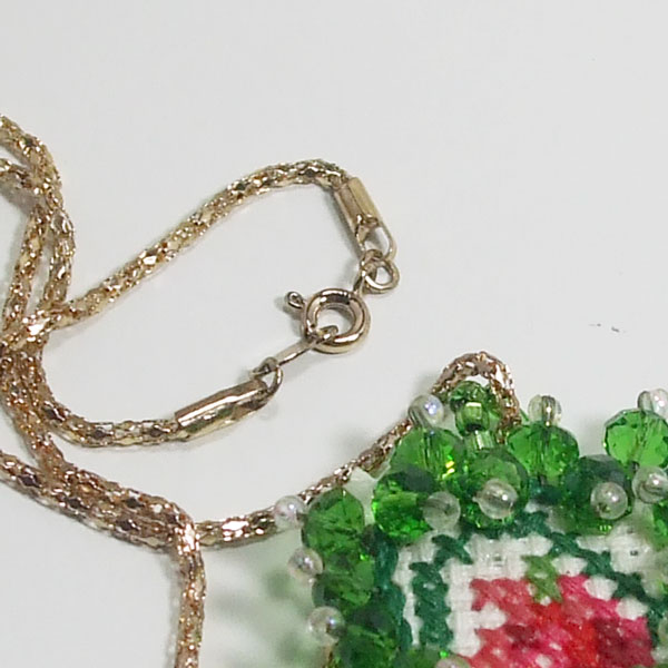 Raechelle Bead Embroidery X-Stitch Pendant Necklace clasp view