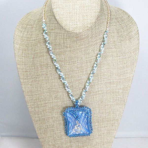 Wandiee Bead Embroidery Pendant Necklace relevant front view