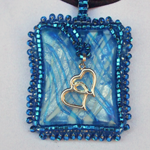 Wandiee Bead Embroidery Pendant Necklace front pin up view