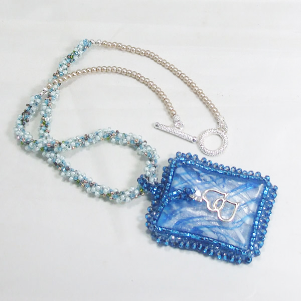Wandiee Bead Embroidery Pendant Necklace flat view