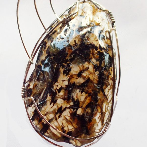 Montana Agate Wire Wrapped Pendant close up view