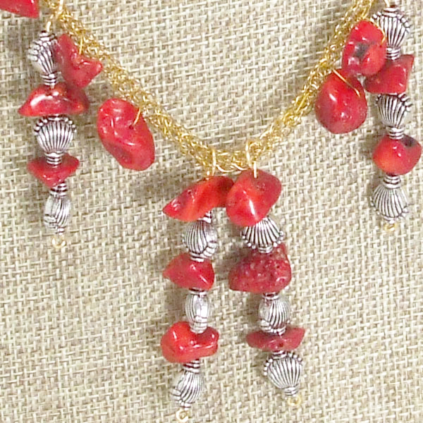 Vallia Viking Knit Dangle Necklace front blow up view