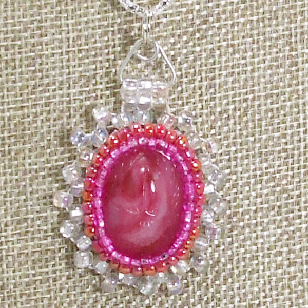 Sadia Bead Embroidery Cabochon Pendant Necklace blow up view