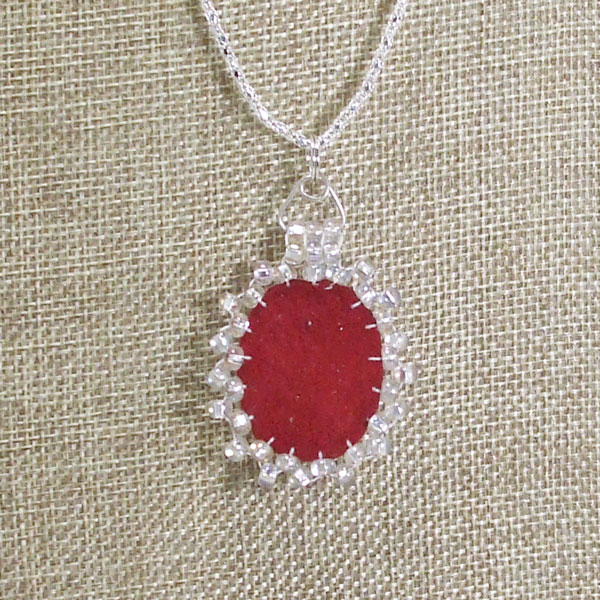 Sadia Bead Embroidery Cabochon Pendant Necklace back view