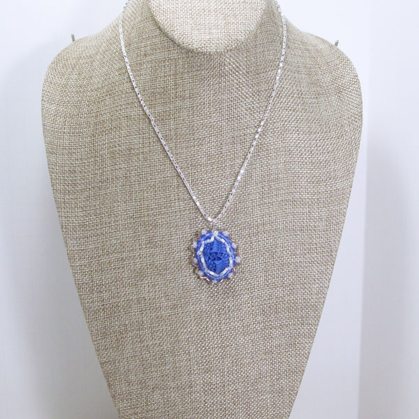 Tailer Bead Embroidery Cabochon Pendant Necklace relevant front view